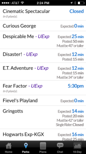 The Lines app from Touringplans.com features real-time wait information.