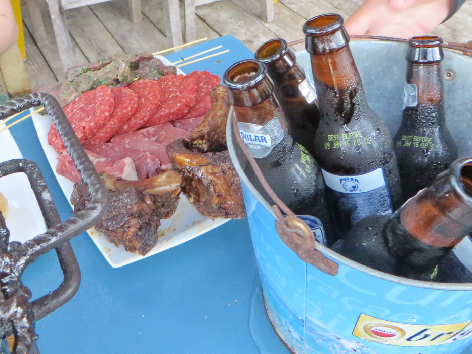 All-you-care-to-eat meat and a bucket of beer. This is truly paradise!