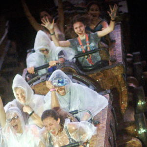 Here's what it was like when we rode Seven Dwarfs Mine Train in Florida rain. That girl loving the ride – that's my daughter Luna. For the rest of us, it was like going through a car wash at high speed with the windows down.