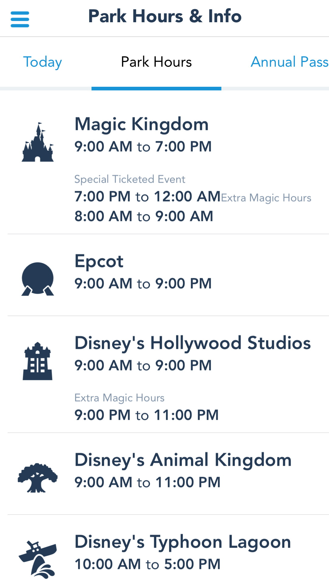 Image result for my disney experience park hours
