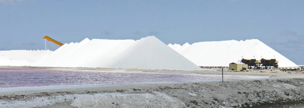 Piles of salt harvested from the sea on Bonaire