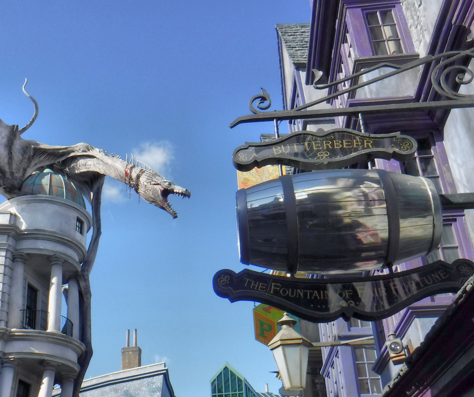 Even non-riders get to enjoy the spectacle of the Gringott's dragon - and the delicious Butterbeer!