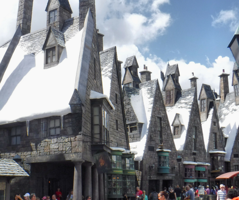 Snow-covered rooftops in Florida's Hogsmeade Village