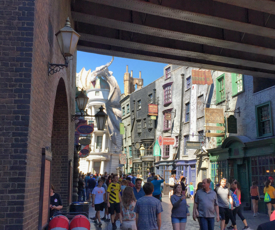 Passing through the wall into Diagon Alley reveals an incredible sight.