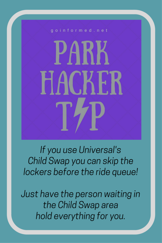 With child swap you don't have to put your stuff in a locker before heading into the ride queue! Just have the person waiting in the child swap area hold it for you.