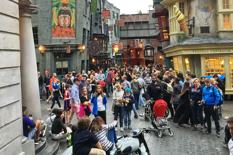 A typical day in Diagon Alley at Universal Studios Florida.