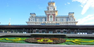 Magic Kingdom Train Station with Mickey Mouse Flower Garden